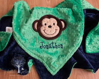 Monkey Personalized Minky Baby Blanket, Personalized Minky Baby Blanket, Personalized Baby Gifts, Monkey Appliqued Minky Baby Blanket