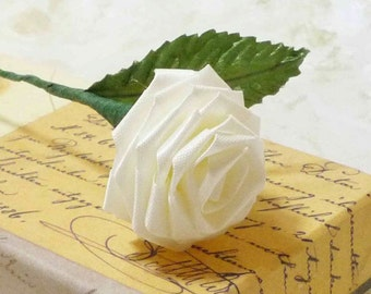 10 Single Stem Origami Roses in Ivory White for Parties, Decor, Gift Giving, and Special Occasions