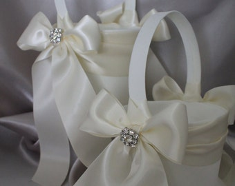 2-Flower Girl Basket in White or Ivory  with Round Rhinestone Cluster Accent-Custom Ribbon Colors