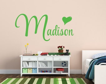 Name Decal Name Wall Decal Personalized Name Wall Decal Monogram Decal Heart Wall Decal Nursery Decor Childrens Decor Vinyl Wall Decal