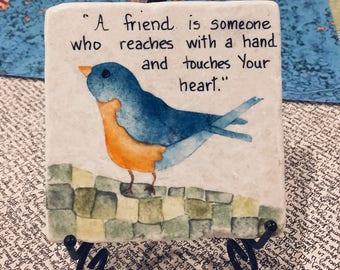 Bluebird painting, stone tile, coaster, oil painting, bird painting, bird art, bluebird,