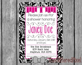 Printable Baby Shower Invitation / It's A Girl / Black and Pink Damask Baby Shower Invitation