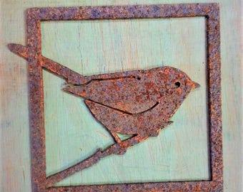 Bushtit Tile Ornament | Wild Bird Art | Metal Wall Art | Primitive Christmas Ornament | Rustic Christmas Decoration | Bird Lover Gift | T307