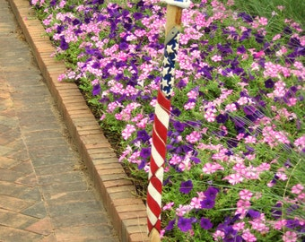 "Uncle Sam's Hat - Walking Stick, white pine cane, oak hat, 39"" length; 1 pound; carved American Flag; July 4th celebration"