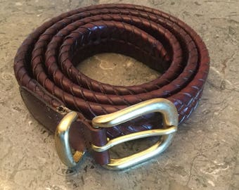 """Coach Size 42"""" Brown Leather Braided Belt Style 5922"""