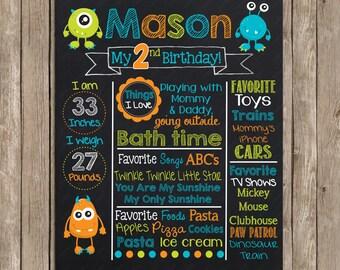 Monster Chalkboard - Chalk Board Poster - Custom Color  - Printable Photography Prop Poster Printable Digital File
