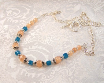 Moonstones and Cubes Necklace