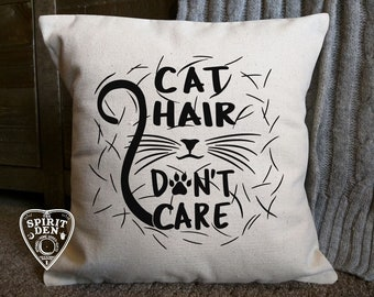Cat Hair Don't Care Cotton Canvas Natural Pillow | Cat Pillow | Cat Lover Pillow | Gift for Cat Lover | Crazy Cat Lady | Cat Lover Gift