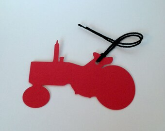 Farm Tractor Tags, Shaped Hang Tags, Die Cut Party Decor
