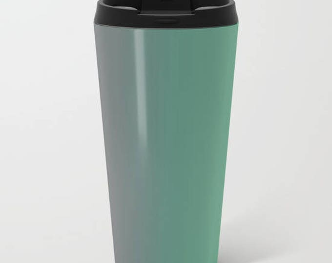 Travel Mug Metal - Green to Gray Ombre - Coffee Travel Mug -  Hot or Cold - 15oz Mug - Stainless Steel - Made to Order