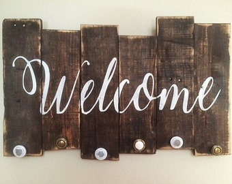 Rustic Welcome reclaimed pallet wood sign with knob hangers