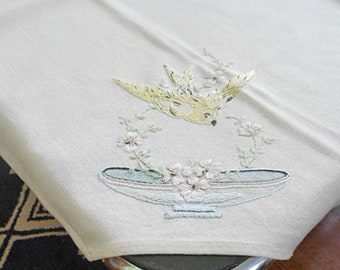 Darling YELLOW BIRD & Pink DOGWOOD Tablecloth, Painted Blue Bowl Twining Leaves Hand Embroidered Linen 31 x 33 Porch Bridge Table Pretty