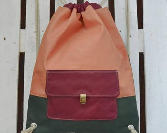 Backpack, backpack in eco leather three colours and external pocket, elegant comfortable.
