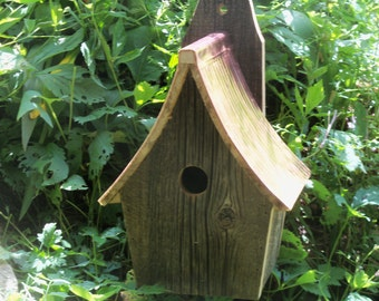 Weathered Barn Bluebird House with Copper Roof