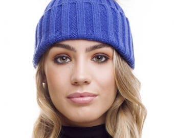 Blue  hat with Fur Pom Pom, beanie hat with Fur Pom Pom,bobble hatFREE SHIPPING Christmas gift ideas,beanie, cap