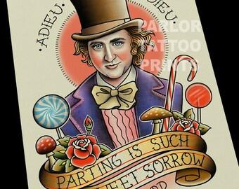 Willy Wonka Tattoo Flash Art Print