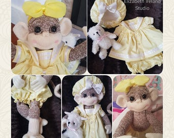 GIRL Monkey doll 18-inch  Precious Gracie. LTD.Edition *fully posable, outfit and toy. OOAK