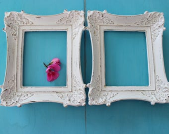 Vintage Ornate White Shabby Chic Open Frames , Home Decor Wall Frame Decoration , Cottage Decor