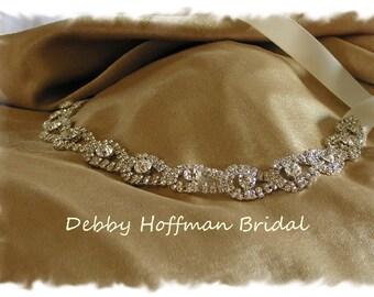 Rhinestone Bridal Headband, Wedding Headpiece, Crystal Bridal Head Piece, Teardrop Wedding Headband, Jeweled Bridal Hair Piece, No. 4080HB