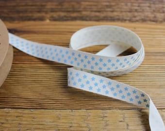 Cotton Ribbon 15 mm print blue stars-cotton Such 100% pure cotton 15 mm wide