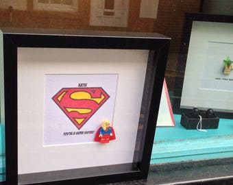 Supergirl  Superhero gift personalised Wall Art Box Frame Picture Gift, for a Superhero Mom, Mum, Mam, Super Sister, Aunt, Gran