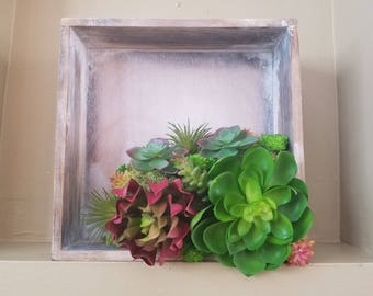 Faux succulent box wall hanging