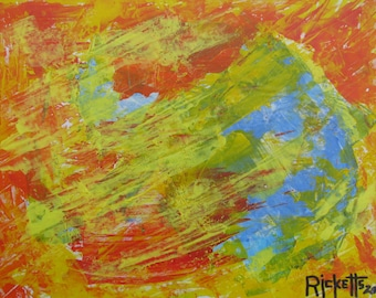 COLORS IN SPACE Original Acrylic Abstract Painting Unframed 11.75 x 9 No. 530 E