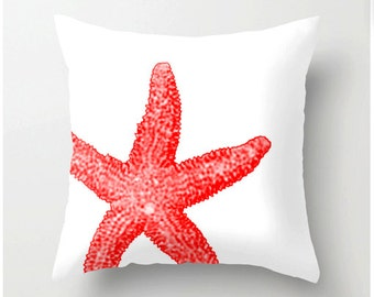 Red and White Starfish Pillow - beach decor home decor nautical themed pillows Pantone color Cayenne -  accent cushions coastal decor