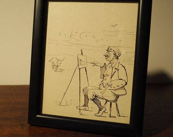 Pen and Ink Sketch of an Artist