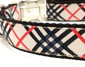 Tartan Plaid Designer Dog Collar | Personalized Dog Collar | Tan Plaid Dog Collar | Personalized Harness & Leash Set
