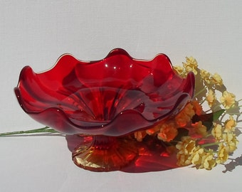 Vintage Viking Amberina Glass Pedestal Compote Dish
