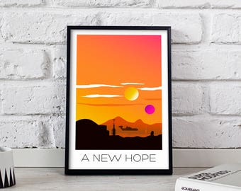 Star Wars Poster, Star Wars print, Star Wars art, A New Hope poster, Star Wars wall art, Star Wars wall decor, Gift poster