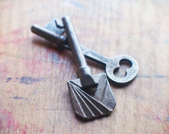 Antique Skeleton Key Duo - Rare Ornate Vintage Key
