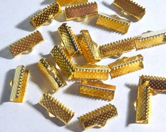 16mm Gold Ribbon End Clamps - Crimp Fasteners - Closures, 20 PC (INDOC9)