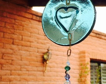 Sale Heart Suncatcher Blue Glass with Bell