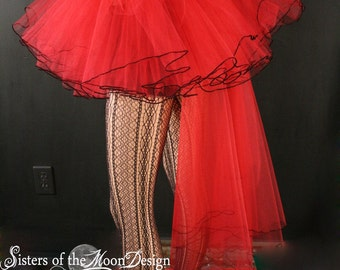 Red Bridal veil trail tutu skirt extra poofy Adult gothic wedding bridal dance costume ballet  --You Choose Size -- Sisters of the Moon