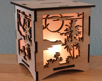 Sunset Silhouette NightLight Laser Cut Lamp