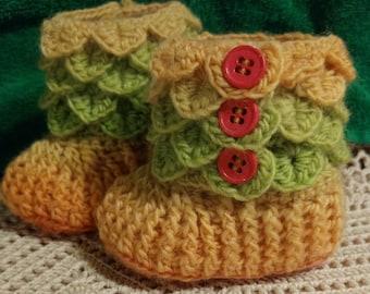 Crocheted Crocodile Stitch Booties