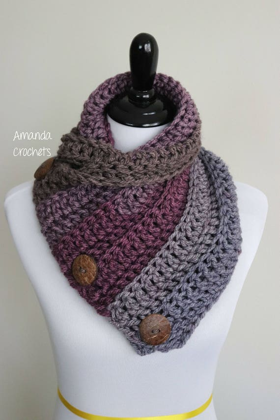 Crochet Cowl Pattern-Instant Download-3 Button Cowl