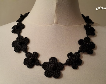 Crochet Necklace,Crochet Neck Accessory, Black, 100% Cotton.