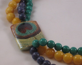 Colorful, handpainted Plumage  triple-strand necklace