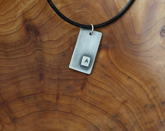 Sterling Silver Initial Tag Wide (E0486)