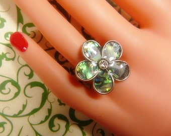 Vintage Abalone and Silver Ring -- Size Adjustable - R-133