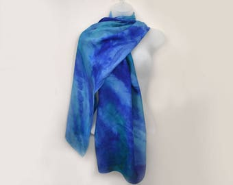 Silk Scarf/ Shawl, Hand-Painted Wide In Gorgeous Blues Or Your Colors , MADE TO ORDER