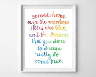 Rainbow Nursery Art-Somewhere Over the Rainbow Girl Printable Art by paper and palette