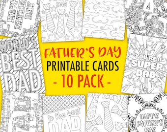 Father's Day Printable Coloring Cards (10 Pack) | 10 Printable PDF Father's Day card templates to color in and make | Father's Day gift idea