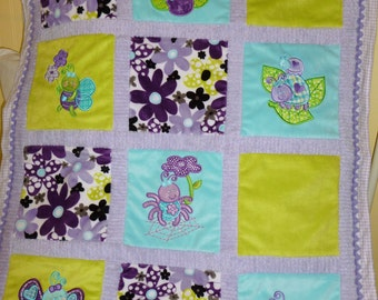 "Appliqued Bugs Minky Quilt ""More Cute Bugs"""