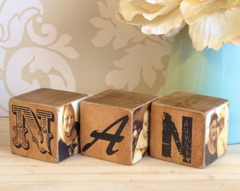 Nanny Gift, Nan Gift, Nan Photo Blocks, Mum Blocks, Daddy Photo Blocks, Aunty gift, Grandad Gift, Photo Gift, Photos on Wood, Photo Keepsake
