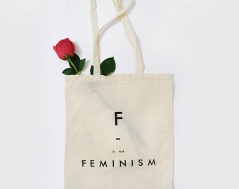 F - is for feminism tote bag