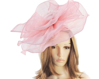 Amelia Candy Pink Fascinator Hat for Weddings, Races, and Kentucky Derby With Headband (40 colours)
